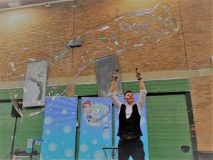 Giant bubbles by Richard - the best childrens entertainer in Dorset
